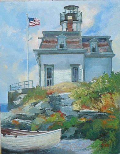 "Rose Island lighthouse, 11""x14"", oil on linen"