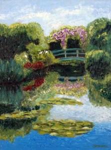 Lily Pond with Bridge by Susan Sternau