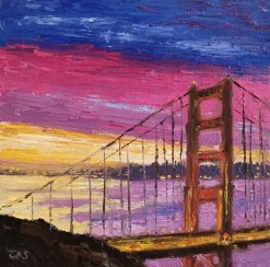 Bridge with Pink and Purple Clouds Mini Oil by Susan Sternau