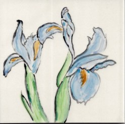 Two Blue Irises tile, by Susan Sternau
