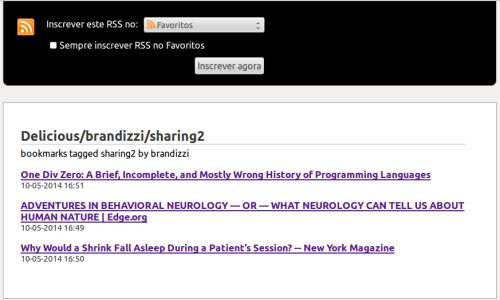 Feed RSS do Delicious, visto no Firefox