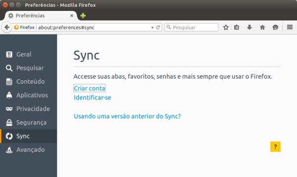 Tela de preferência do Sync