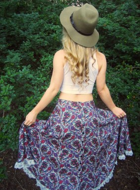 boho bohemian thirfted skirt sustainable daisy
