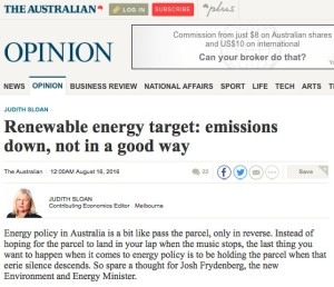 'Renewable energy target: emissions down, not in a good way'' screen shot of article by Judith Sloan, The Australian, 16 August 2016