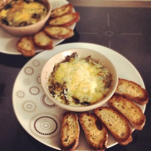 Baked egg and creamy Spring Leaves