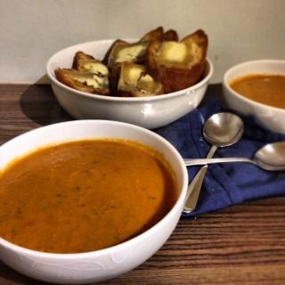 Roast Tomato Soup with Stilton Toast