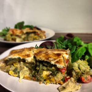 Roast Vegetable and Houmous Pie
