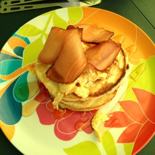 American Pancake Stack with Facon and Scrambled Eggs