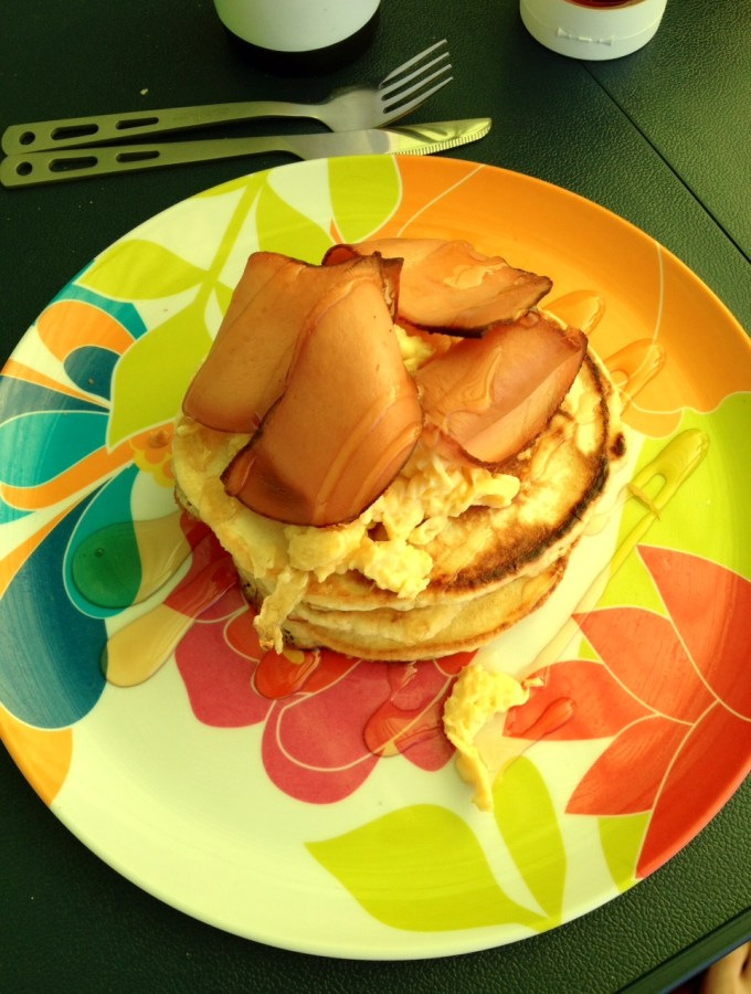Vegetarian American Pancake Stack with Quorn Ham and Scrambled Eggs and Sweet Freedom