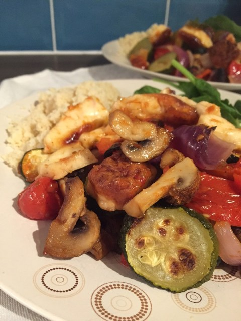 Deconstructed Halloumi Kebab | Sarah Irving Susty Meals