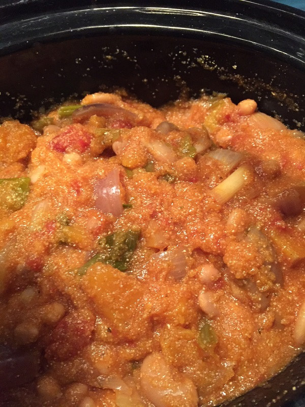 Spicy Squash, Butterbean and Chickpea Slow Cooker Stew