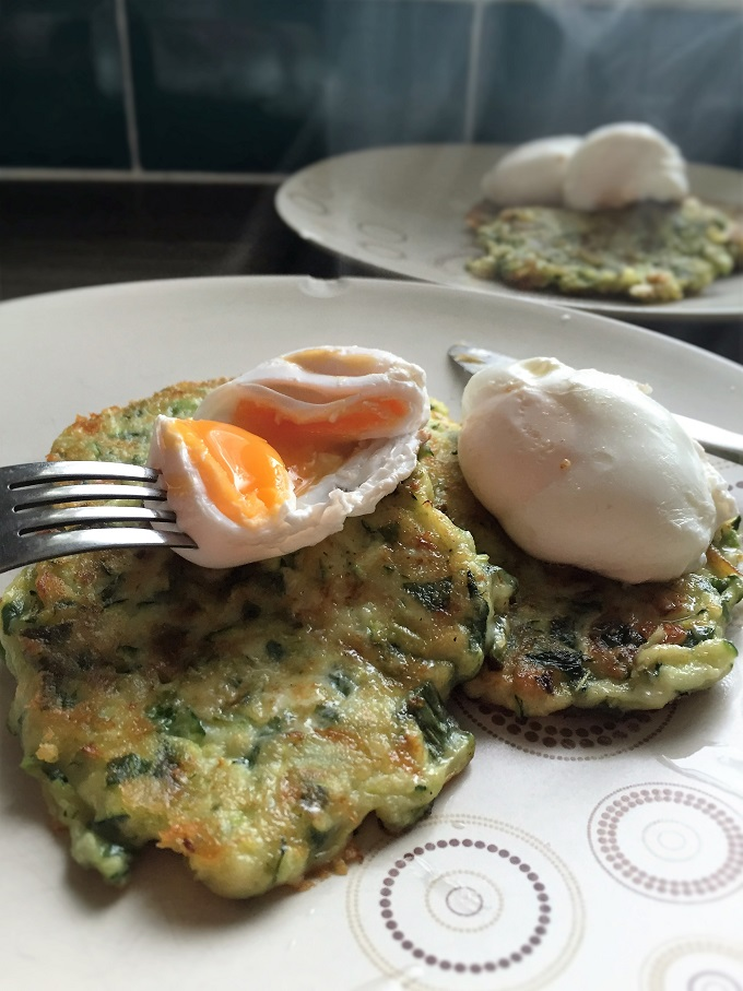 Courgette and Mint Fritters with poached eggs 4