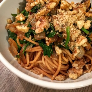 Roasted Pumpkin, Spinach and Walnut Spaghetti