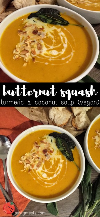Butternut Squash, Turmeric and Coconut Soup | Vegan Recipes | Vegetarian Recipes | Soup Recipes | Sarah Irving | Susty Meals | Manchester