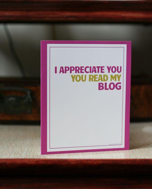 Funny blogger greeting card i appreciate you you read my blog suzanne carillo