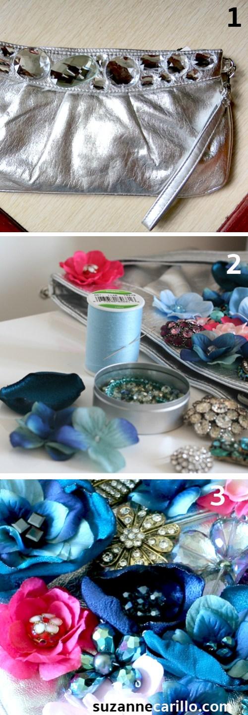 DIY floral jewel clutch