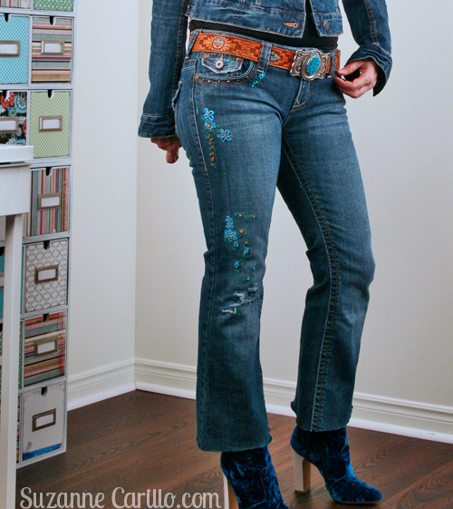 DIY embroidered jeans suzanne carillo style over 40