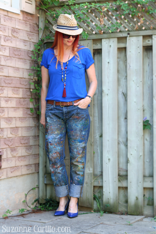 DIY paint splatter jeans suzanne carillo style for women over 40
