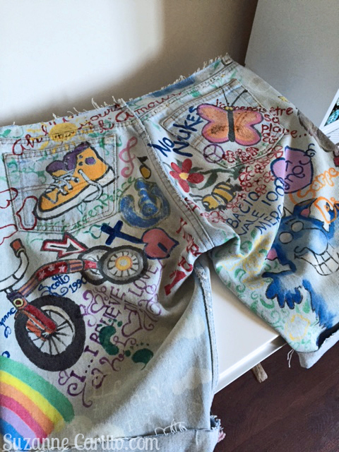 hand painted shorts suzanne carillo 1990