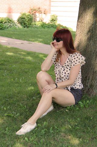 Pink polk-a-dot blouse H&M Joe Fresh white wing tip shoes
