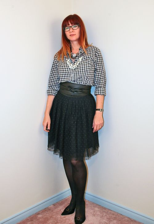 Black gingham shirt black tulle skirt