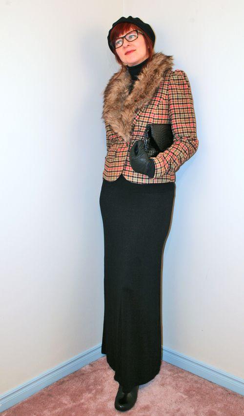 Check blazer ModCloth black maxi skirt