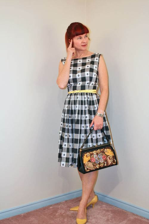 Ginham black and white vintage dress