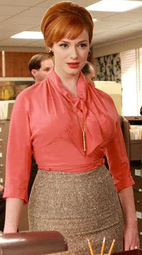 Joan_holloway mad men wearing pussy bow blouse
