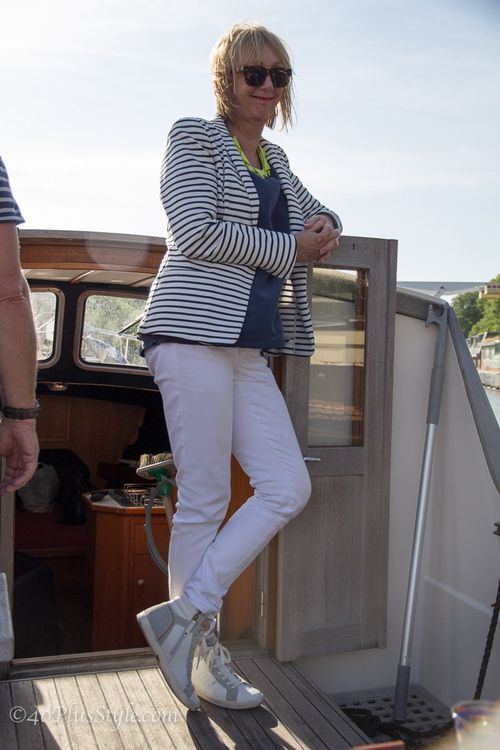 How to wear white what to wear boating on the canals of amsterdam photo by 40 plus style suzanne carillo style files
