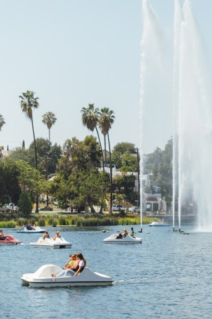 Paddle boating in Echo Park