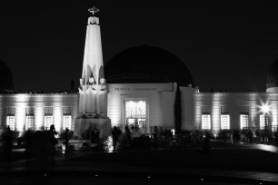 Griffith Observatory entrance at night