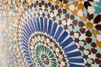 Mosaic Details at Paris Grand Mosque