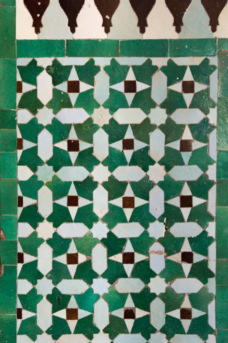 Green Mosaic Floor at Paris Grand Mosque