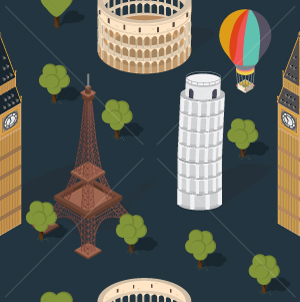 109.World Monuments Seamless Pattern