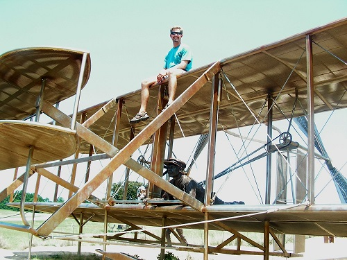 Me on the Wright Brother's Flyer