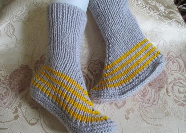 Мастер класс вязание носков на 2-х спицах 84