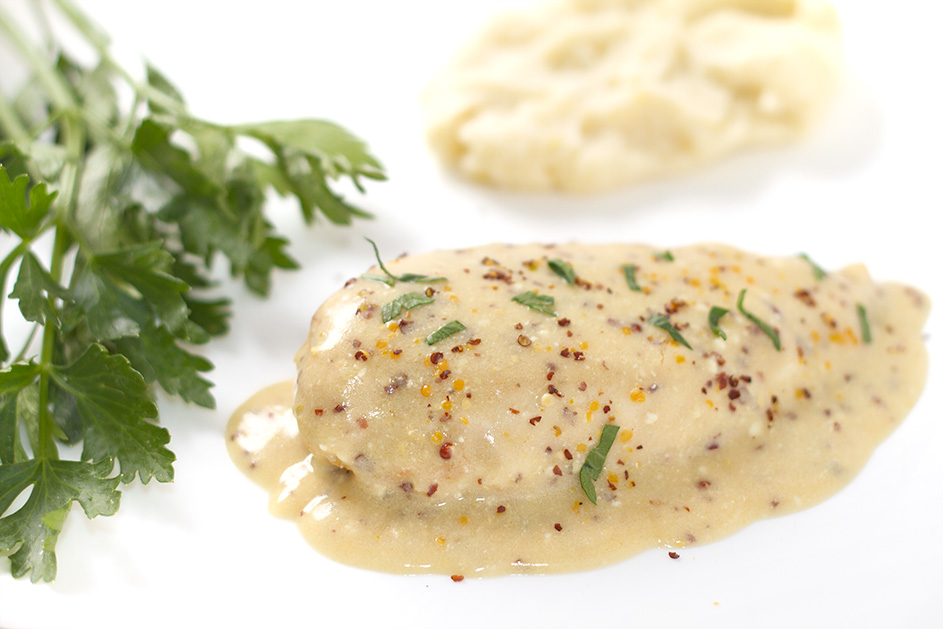Velvet Chicken breast in mustard sauce | Swati's Kitchen