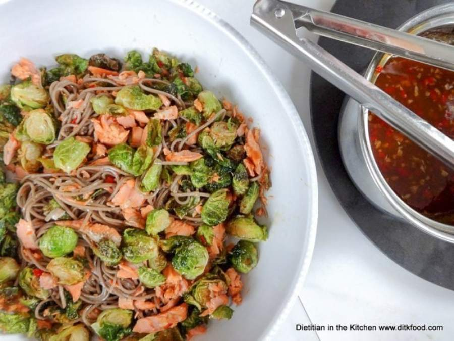 Miso-Glazed Salmon and Soba Salad with Crispy Brussels Sprouts