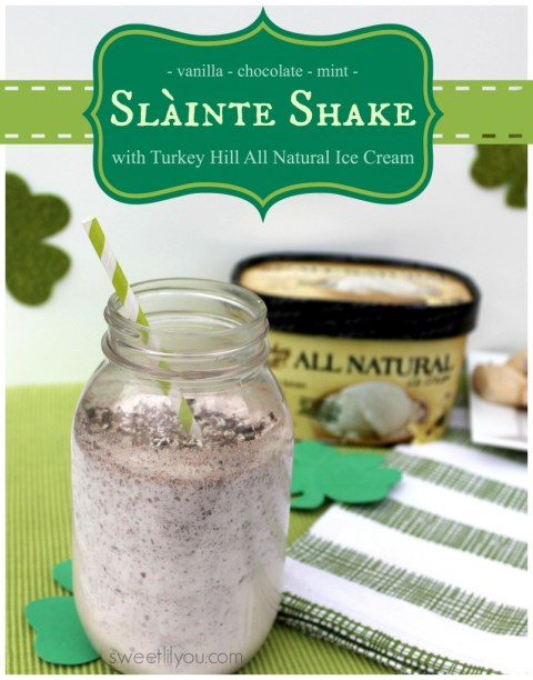 Slainte Shake Using Turkey Hill All Natural #IceCream! Mint Chocolate and Vanilla #TRKAmbassador #StPatricksDay #dessert