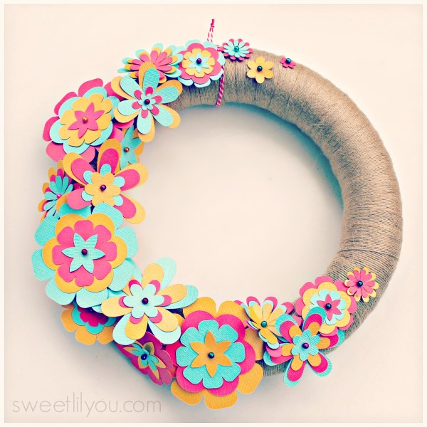 Cut Paper Flower Wreath using Silhouette and supplies from Michael's Crafts Spring and Summer Decorations