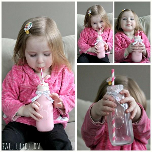 pink chocolate milk valentine's day treat for kids