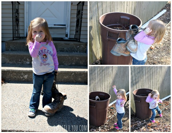 Avery is ready to toss daddy's stinky boots!