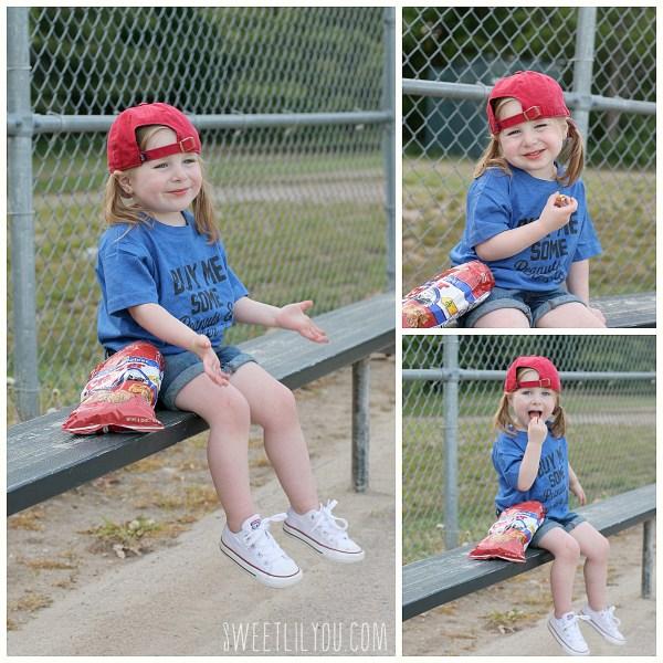 Avery Eating cracker jacks on the bench