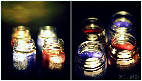 Glowing LED Glitter Candle holders
