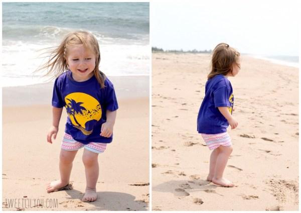 Happy Avery on the beach
