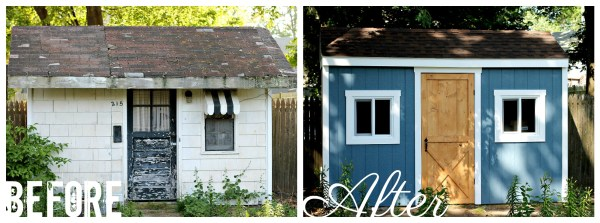 Before and After of the Shed Makeover
