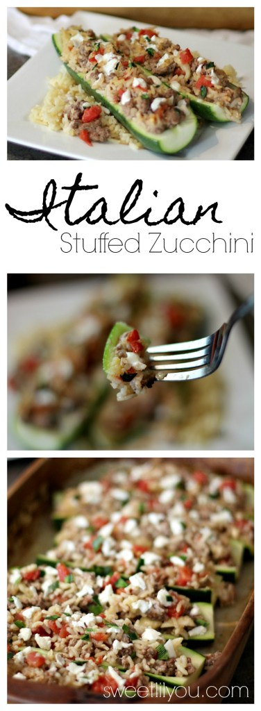 Italian Stuffed Zucchini is an easy and delicious meal your whole family will enjoy! Made with Zucchini, Parmesan Rice, Ground Beef and Tomatoes