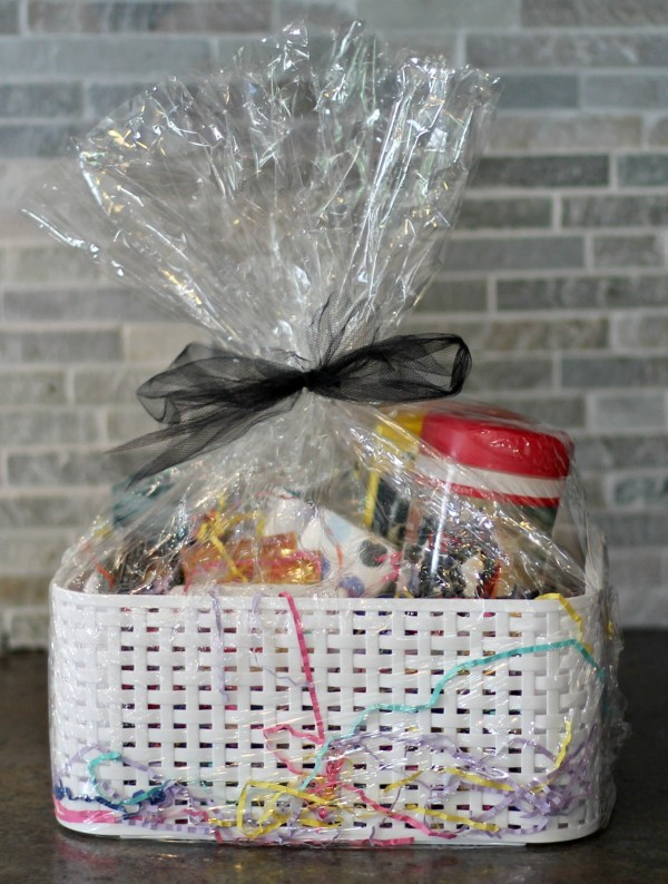 wrapped gift basket