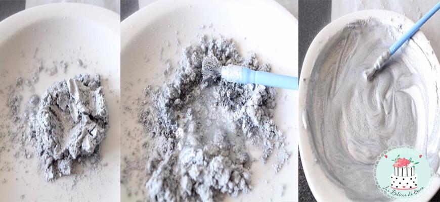 pâte à sucre argenté