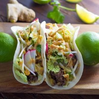 30-Minute Ginger Beef Tacos with Peanut Sauce